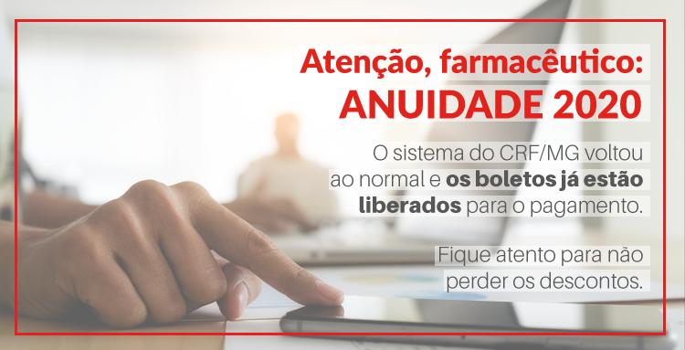 O sistema do Conselho Regional de Farmácia de Minas Gerais (CRF/MG)  está funcionando normalmente e os boletos já podem ser retirados para pagamento.